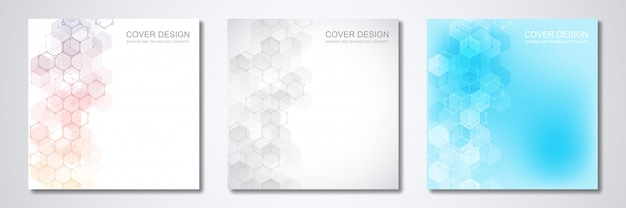 Square template for cover or brochure, with geometric abstract background of molecular structures and chemical compounds.