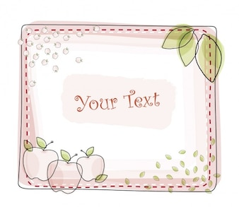 Square template frame with apples