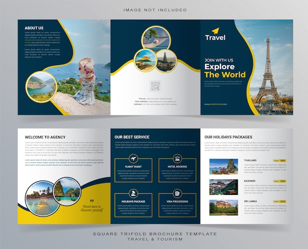 Square travel trifold brochure template