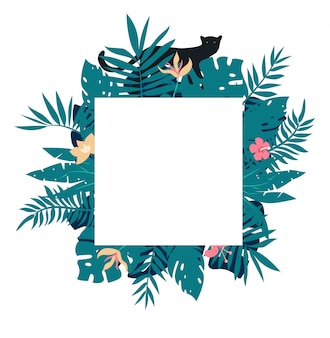 Square tropical frame with leaves and black panther