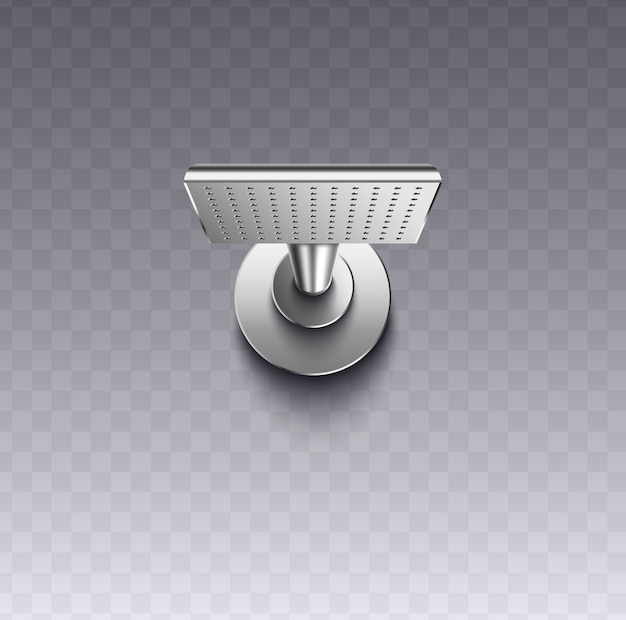 透明な背景、バスルームウォッシュ-イラストのモダンなシャワーヘッド器具の現実的な銀の金属の質感を持つ正方形の壁マウントシャワーヘッド。