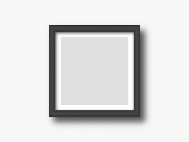 正方形の壁の写真または絵画フレームのモックアップ