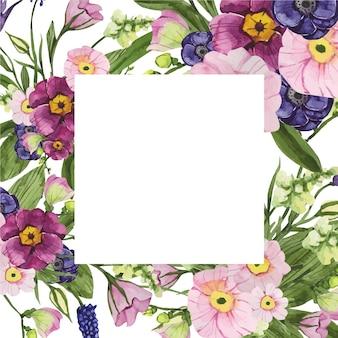 花と正方形の水彩フレーム