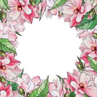 桜の花と正方形の水彩画フレーム