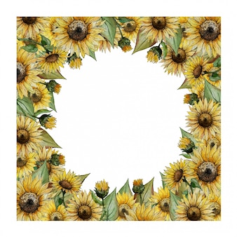 Square  watercolor frame with yellow sunflowers