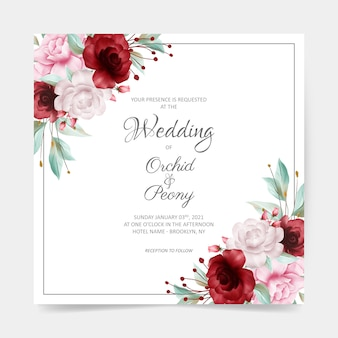 Square wedding card with watercolor floral border decoration