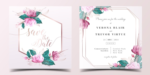 Square wedding invitation card