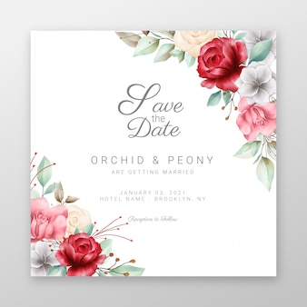 Square wedding invitation cards with beautiful flowers border