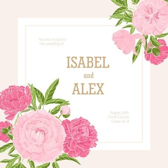 Square wedding invitation template decorated with blossoming pink peony flowers.
