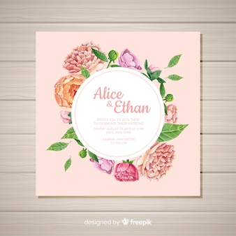 Square wedding invitation template with peony flowers concept
