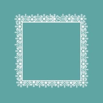 雪片で作られた正方形の白いフレーム