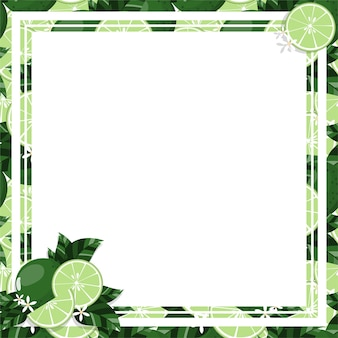 Square white frame and rectangle label on citrus lime background