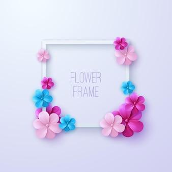 여러 가지 빛깔의 꽃을 가진 사각 흰색 프레임