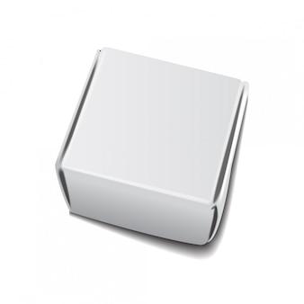 正方形の白いクラフト紙の箱、ギフトまたはハンドルテンプレート付き食品包装。板紙段ボール