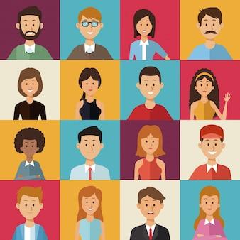 世界の多様性の半分のグループの人々と正方形