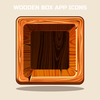 Square wooden box app icons