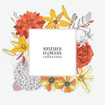 夏の花と正方形の花輪-ダリア、アジサイ、ユリ、バラ、ジニア。花のフレーム