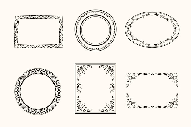 Squared and circular ornamental frame set