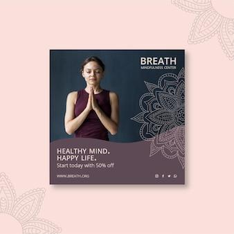 Volantino quadrato per meditazione e consapevolezza