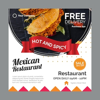 Squared flyer for mexican food restaurant