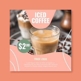 Squared flyer template for coffee shop