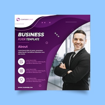 Квадратный шаблон флаера для бизнес-услуг