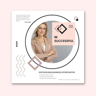 Квадратный шаблон флаера для бизнес-леди