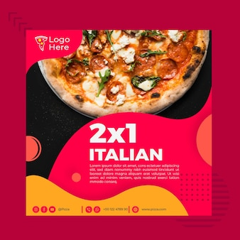 Шаблон флаера в квадрате для пиццерии