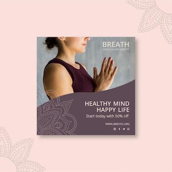Modello di volantino quadrato per meditazione e consapevolezza