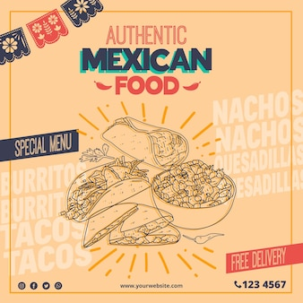 Squared flyer template for mexican food restaurant