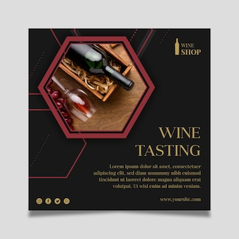 Squared flyer template for wine tasting with bottle and glass