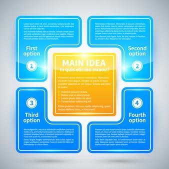 Quadrato infografica con struttura lucida, quattro opzioni
