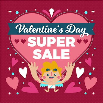 제곱 된 발렌타인 데이 판매 배너