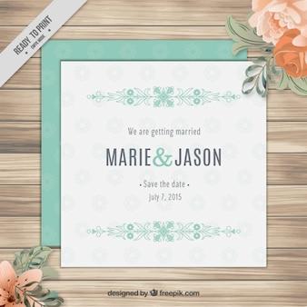 Squared wedding invitation