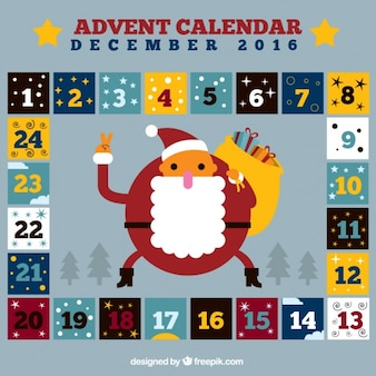 Squares advent calendar and santa claus
