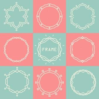 Квадраты и круги фон линии из розовых и зеленых картин