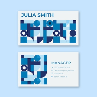 Squares and circles abstract business card template