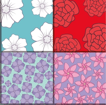 Squares of Pattern of beautiful and tropical flowers