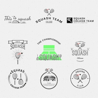 Squash badges logos and labels can be used for design