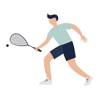 라켓이 있는 스쿼시 선수. 스포츠 개념입니다. 손에 라켓을 들고 있는 선수 캐릭터, 로고, 스티커, 지문, 배너 디자인 및 장식을 위한 평평한 삽화. 프리미엄 벡터