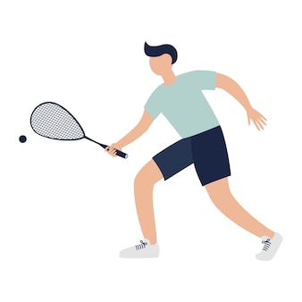 Squash player with racket. sports concept. athlete character with a racket in his hand, flat illustration for logo, stickers, prints, banners design and decoration. premium vector