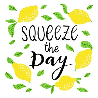 Squeeze the day - vector lettering quote. hand drawn calligraphy quote with frame of lemons and leaves. comic positive phrase squeeze the day. vector illustration isolated on white background.