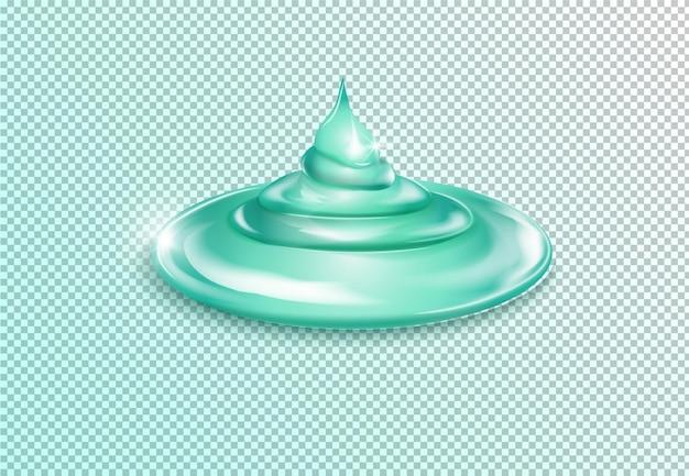 짜낸 투명 젤이 모양을 떨어 뜨립니다. 투명한 배경에 식기 세척 및 청소 젤의 형태. 현실적