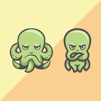 Squid cartoon mascot logo illustration
