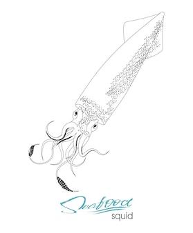 오징어 물고기 실루엣 아이콘 흰색 배경에 고립 된 촉수와 오징어