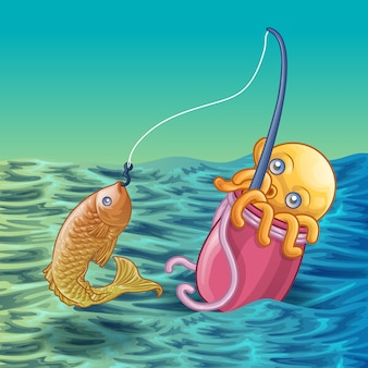 Squid is fishing in cartoon style.