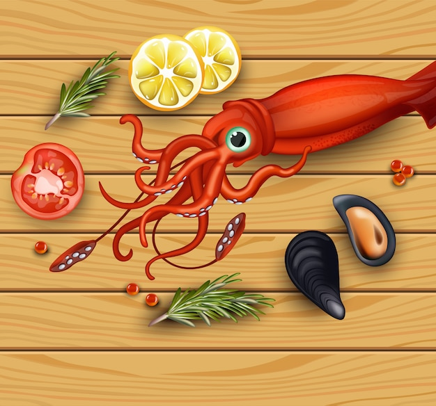 Squid and mussels seafood on wood background