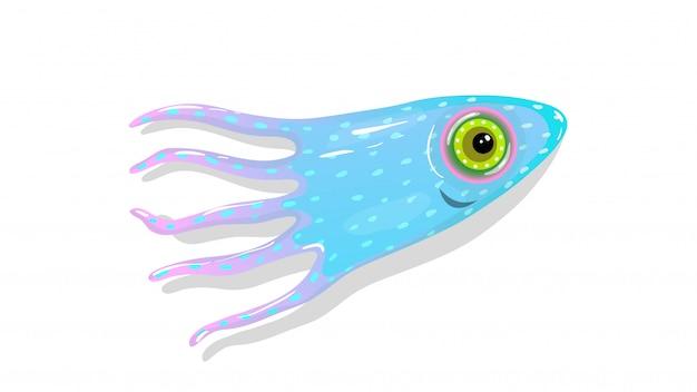 海洋水中生活の白い幸せなマスコットイラストに分離された触手とイカまたはイカ。