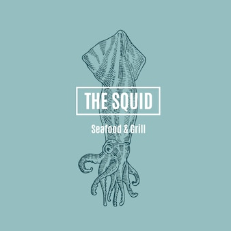 The squid seafood and grill. abstract sign, symbol or logo template. hand drawn squid illustration with classy retro typography. premium quality vintage emblem. isolated.