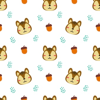 Squirrel and acorn animal vector seamless pattern background